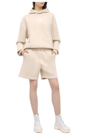 Женские хлопковый шорты ALEXANDER WANG бежевого цвета, арт. UCC1214010 | Фото 2