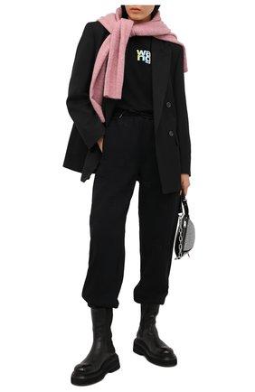 Женские хлопковый джоггеры ALEXANDER WANG черного цвета, арт. UCC1214008 | Фото 2