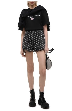 Женская хлопковая футболка DENIM X ALEXANDER WANG черного цвета, арт. UCC1211344   Фото 2