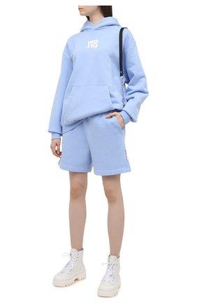 Женский хлопковый худи ALEXANDER WANG голубого цвета, арт. UCC1211023 | Фото 2