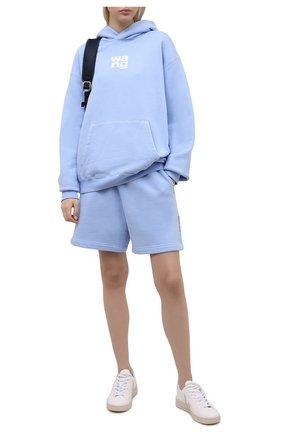 Женский хлопковый худи DENIM X ALEXANDER WANG голубого цвета, арт. UCC1211023 | Фото 2
