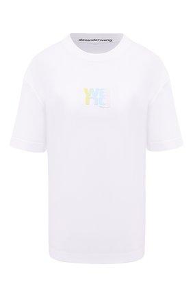 Женская хлопковая футболка ALEXANDER WANG белого цвета, арт. UCC1211022 | Фото 1