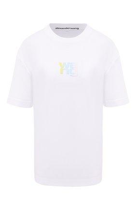 Женская хлопковая футболка DENIM X ALEXANDER WANG белого цвета, арт. UCC1211022   Фото 1