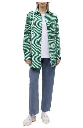 Женская хлопковая футболка DENIM X ALEXANDER WANG белого цвета, арт. UCC1211022   Фото 2