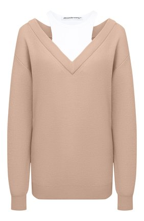 Женский шерстяной пуловер ALEXANDERWANG.T бежевого цвета, арт. 4KC1201038 | Фото 1