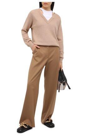 Женский шерстяной пуловер ALEXANDERWANG.T бежевого цвета, арт. 4KC1201038 | Фото 2