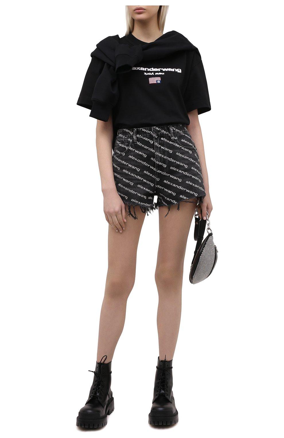 Женские джинсовые шорты DENIM X ALEXANDER WANG темно-серого цвета, арт. 4DC1214896   Фото 2 (Женское Кросс-КТ: Шорты-одежда; Кросс-КТ: Деним; Длина Ж (юбки, платья, шорты): Мини; Материал внешний: Хлопок; Стили: Спорт-шик)