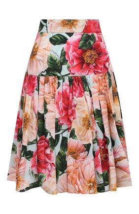 Женская хлопковая юбка DOLCE & GABBANA розового цвета, арт. F4BI3T/HS5H9 | Фото 1