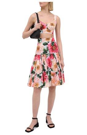 Женская хлопковая юбка DOLCE & GABBANA розового цвета, арт. F4BI3T/HS5H9 | Фото 2