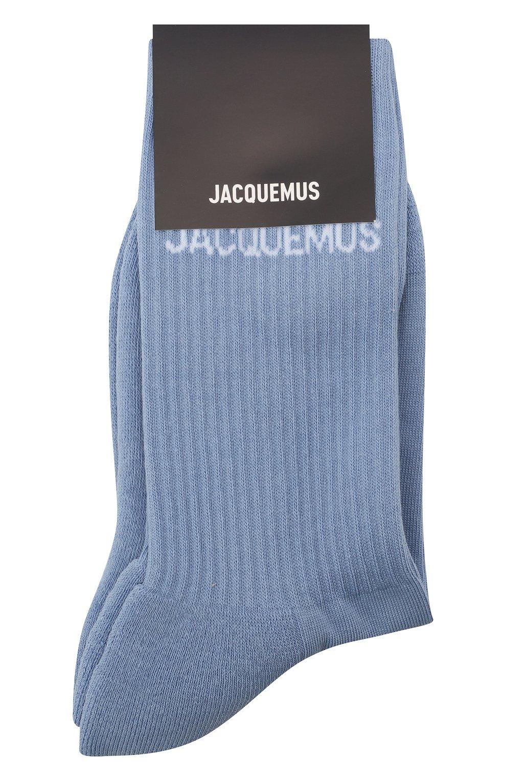 Женские хлопковые носки JACQUEMUS голубого цвета, арт. 211AC09/500350 | Фото 1
