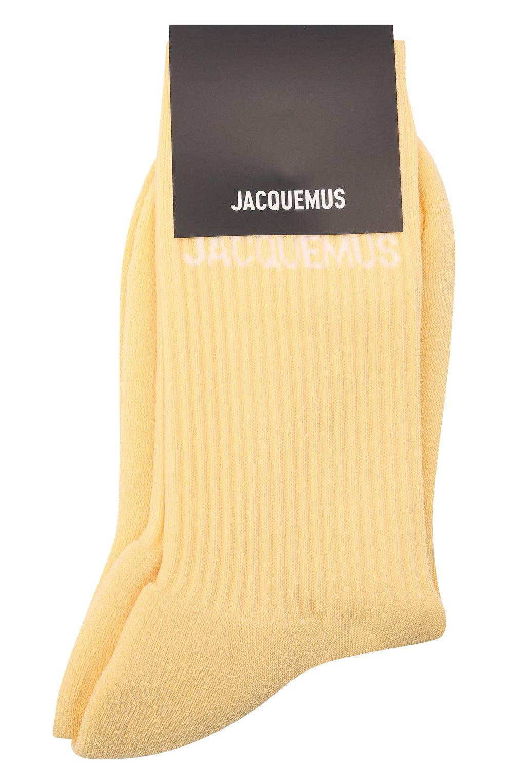 Женские хлопковые носки JACQUEMUS желтого цвета, арт. 211AC09/500200   Фото 1