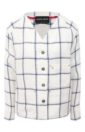 Женская льняная рубашка GIORGIO ARMANI белого цвета, арт. 1SH0C05J/T02FL | Фото 1