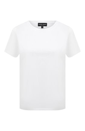 Женская хлопковая футболка GIORGIO ARMANI белого цвета, арт. 3KAM91/AJEJZ | Фото 1