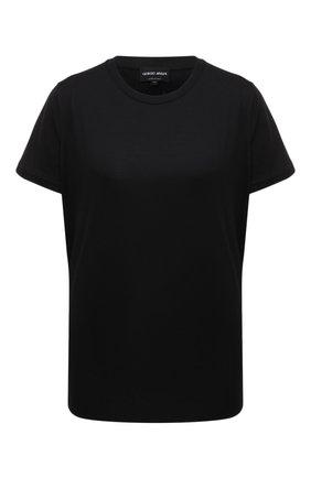 Женская хлопковая футболка GIORGIO ARMANI черного цвета, арт. 3KAM91/AJEJZ | Фото 1