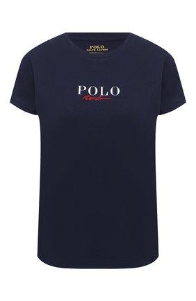 Женская хлопковая футболка POLO RALPH LAUREN темно-синего цвета, арт. 211838118 | Фото 1