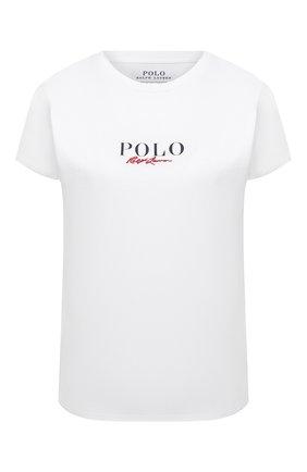 Женская хлопковая футболка POLO RALPH LAUREN белого цвета, арт. 211838118 | Фото 1