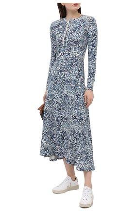 Женское хлопковое платье POLO RALPH LAUREN синего цвета, арт. 211827951 | Фото 2