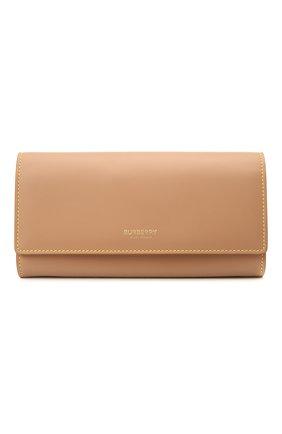 Женские кожаный кошелек BURBERRY бежевого цвета, арт. 8036706   Фото 1