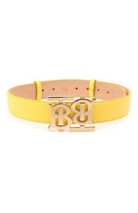 Женский кожаный ремень BURBERRY желтого цвета, арт. 8037031 | Фото 1 (Кросс-КТ: Тонкие)