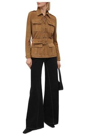 Женский замшевый жакет SAINT LAURENT светло-коричневого цвета, арт. 644476/YC2NZ | Фото 2