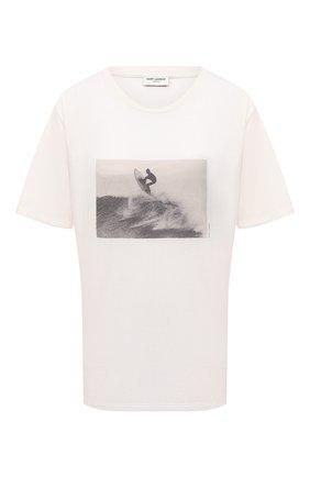 Женская хлопковая футболка SAINT LAURENT кремвого цвета, арт. 646199/Y36AG | Фото 1