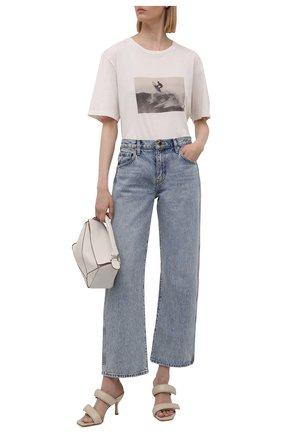 Женская хлопковая футболка SAINT LAURENT кремвого цвета, арт. 646199/Y36AG | Фото 2