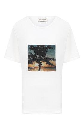 Женская хлопковая футболка SAINT LAURENT белого цвета, арт. 646190/Y36AD | Фото 1