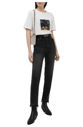 Женская хлопковая футболка SAINT LAURENT белого цвета, арт. 646190/Y36AD | Фото 2