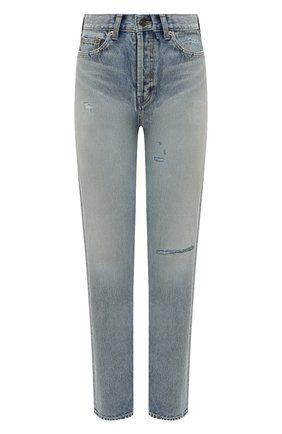 Женские джинсы SAINT LAURENT голубого цвета, арт. 644024/YM372   Фото 1 (Длина (брюки, джинсы): Стандартные; Кросс-КТ: джинсы, Деним; Силуэт Ж (брюки и джинсы): Прямые; Стили: Кэжуэл; Материал внешний: Хлопок)