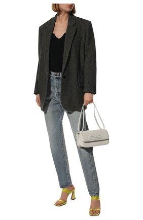 Женские джинсы SAINT LAURENT голубого цвета, арт. 644024/YM372   Фото 2 (Длина (брюки, джинсы): Стандартные; Кросс-КТ: джинсы, Деним; Силуэт Ж (брюки и джинсы): Прямые; Стили: Кэжуэл; Материал внешний: Хлопок)