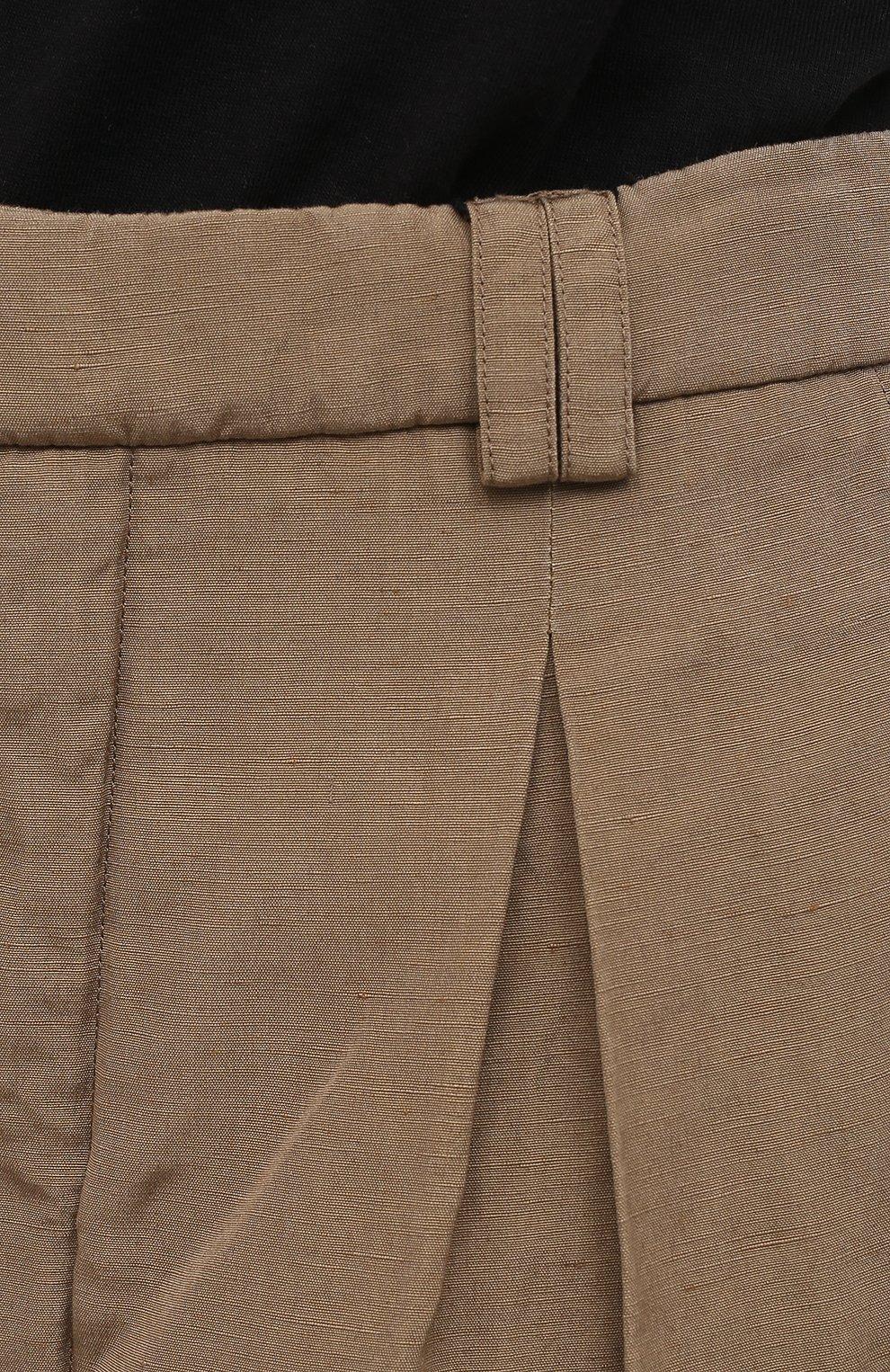Женские шорты из шелка и льна SAINT LAURENT бежевого цвета, арт. 643702/Y5C10   Фото 5 (Женское Кросс-КТ: Шорты-одежда; Материал внешний: Шелк, Лен; Длина Ж (юбки, платья, шорты): Мини; Кросс-КТ: Широкие; Стили: Кэжуэл)