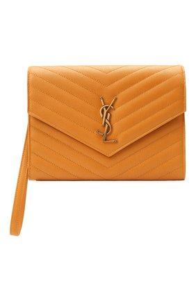 Женские кожаный футляр для документов SAINT LAURENT оранжевого цвета, арт. 617662/B0W07 | Фото 1