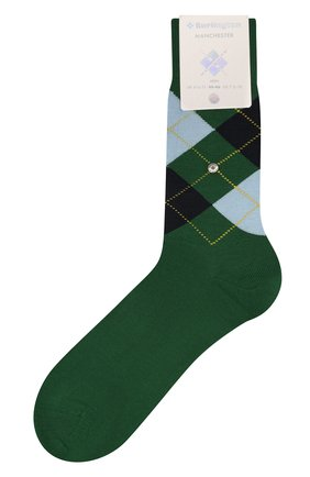 Мужские хлопковые носки manchester BURLINGTON зеленого цвета, арт. 20182 | Фото 1
