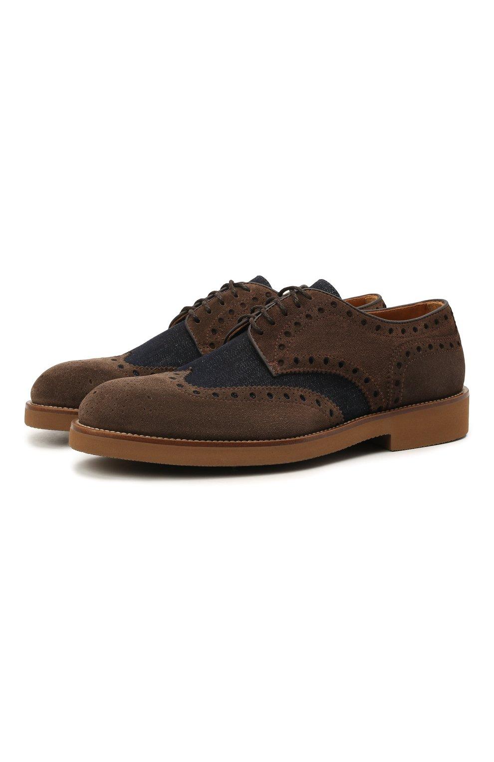 Мужские комбинированные дерби DOUCAL'S коричневого цвета, арт. DU2526HELMPY510MM06   Фото 1 (Материал внешний: Текстиль; Мужское Кросс-КТ: Броги-обувь; Материал внутренний: Натуральная кожа; Стили: Классический)