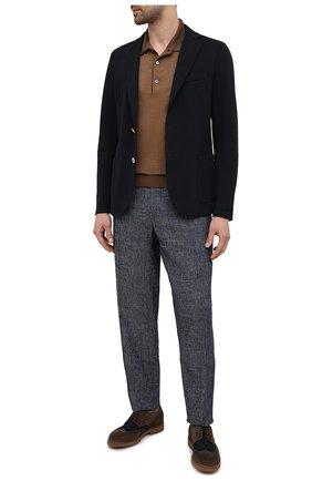 Мужские комбинированные дерби DOUCAL'S коричневого цвета, арт. DU2526HELMPY510MM06 | Фото 2 (Материал внутренний: Натуральная кожа; Материал внешний: Текстиль; Стили: Классический; Мужское Кросс-КТ: Броги-обувь)