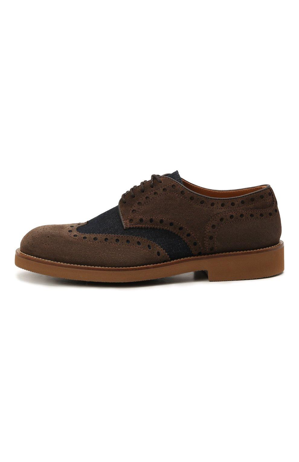 Мужские комбинированные дерби DOUCAL'S коричневого цвета, арт. DU2526HELMPY510MM06   Фото 3 (Материал внешний: Текстиль; Мужское Кросс-КТ: Броги-обувь; Материал внутренний: Натуральная кожа; Стили: Классический)
