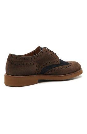 Мужские комбинированные дерби DOUCAL'S коричневого цвета, арт. DU2526HELMPY510MM06   Фото 4 (Материал внешний: Текстиль; Мужское Кросс-КТ: Броги-обувь; Материал внутренний: Натуральная кожа; Стили: Классический)