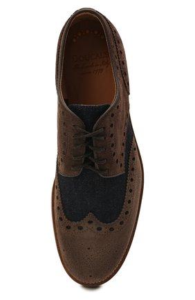 Мужские комбинированные дерби DOUCAL'S коричневого цвета, арт. DU2526HELMPY510MM06   Фото 5 (Материал внешний: Текстиль; Мужское Кросс-КТ: Броги-обувь; Материал внутренний: Натуральная кожа; Стили: Классический)