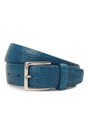 Мужской ремень из кожи каймана LORO PIANA синего цвета, арт. FAI1156/CYAC | Фото 1