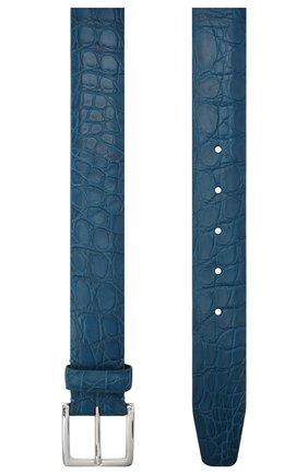 Мужской ремень из кожи каймана LORO PIANA синего цвета, арт. FAI1156/CYAC | Фото 2