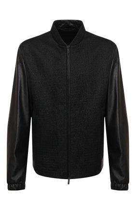 Мужская кожаная куртка GIORGIO ARMANI черного цвета, арт. ASR81P/ASP82   Фото 1