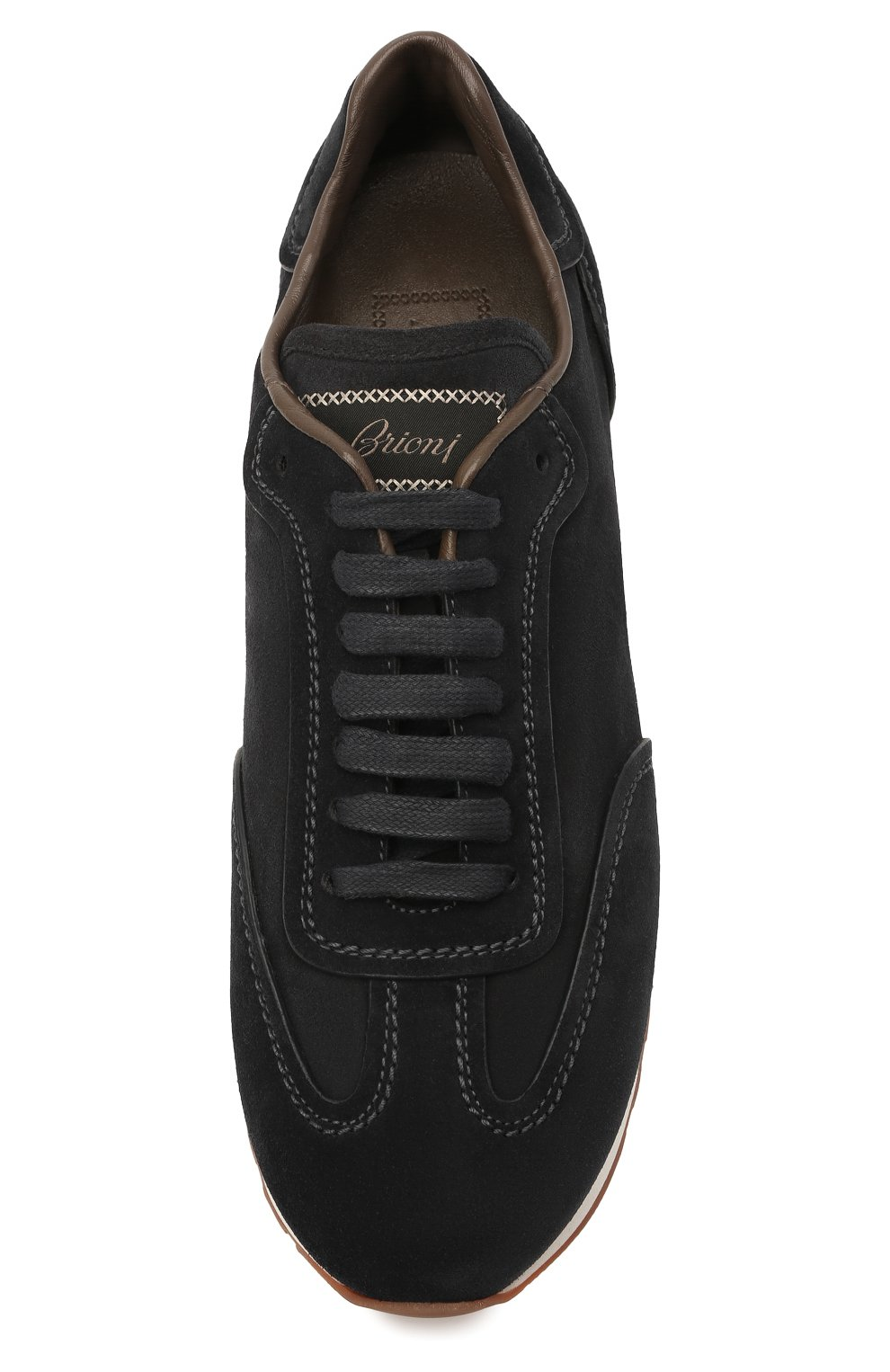 Мужские замшевые кроссовки BRIONI темно-синего цвета, арт. QHI90L/P0711 | Фото 5