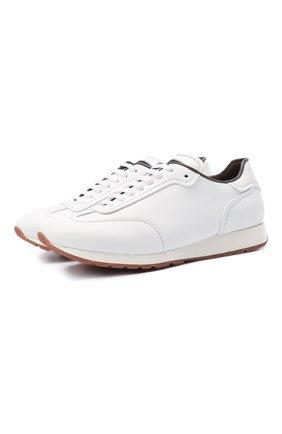 Мужские кожаные кроссовки BRIONI белого цвета, арт. QHI90L/P9726 | Фото 1