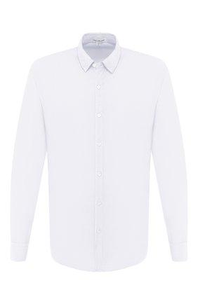Мужская хлопковая рубашка JAMES PERSE голубого цвета, арт. MLC3408 | Фото 1 (Рукава: Длинные; Случай: Повседневный; Материал внешний: Хлопок; Стили: Кэжуэл; Рубашки М: Regular Fit; Длина (для топов): Стандартные; Принт: Однотонные; Воротник: Кент; Манжеты: На пуговицах)