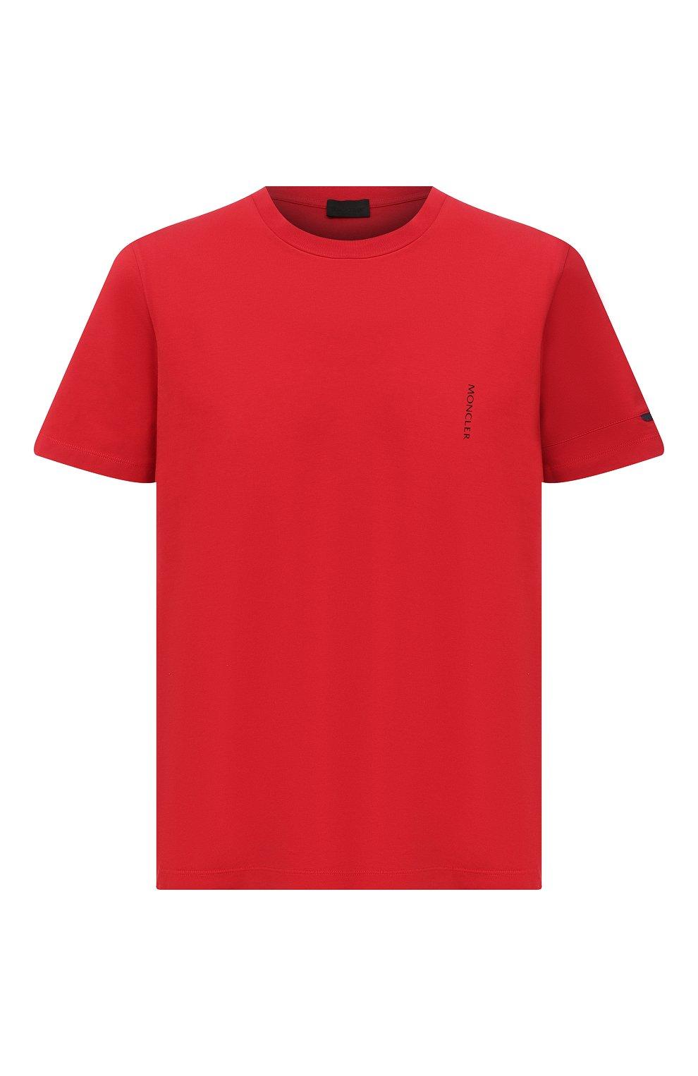 Мужская хлопковая футболка MONCLER красного цвета, арт. G1-091-8C7B2-10-829H8 | Фото 1 (Принт: Без принта; Рукава: Короткие; Длина (для топов): Стандартные; Материал внешний: Хлопок; Стили: Кэжуэл)