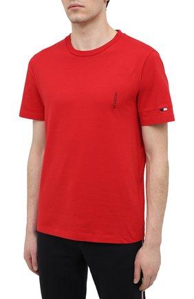 Мужская хлопковая футболка MONCLER красного цвета, арт. G1-091-8C7B2-10-829H8 | Фото 3 (Принт: Без принта; Рукава: Короткие; Длина (для топов): Стандартные; Материал внешний: Хлопок; Стили: Кэжуэл)