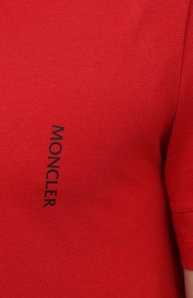 Мужская хлопковая футболка MONCLER красного цвета, арт. G1-091-8C7B2-10-829H8 | Фото 5 (Принт: Без принта; Рукава: Короткие; Длина (для топов): Стандартные; Материал внешний: Хлопок; Стили: Кэжуэл)