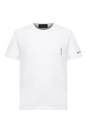 Мужская хлопковая футболка MONCLER белого цвета, арт. G1-091-8C7B2-10-829H8 | Фото 1 (Принт: Без принта; Материал внешний: Хлопок; Длина (для топов): Стандартные; Стили: Кэжуэл; Рукава: Короткие)