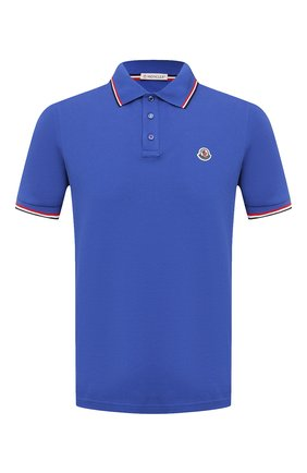 Мужское хлопковое поло MONCLER синего цвета, арт. G1-091-8A703-00-84556 | Фото 1