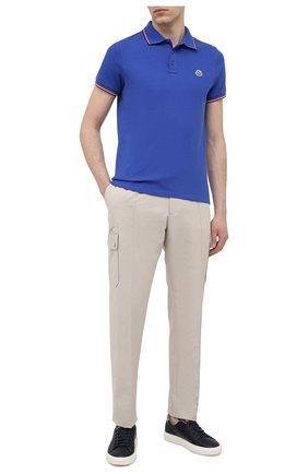 Мужское хлопковое поло MONCLER синего цвета, арт. G1-091-8A703-00-84556 | Фото 2